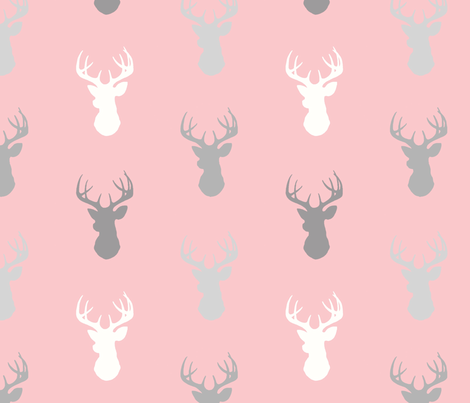 Deer- Pink/grey-Meadow Sunrise fabric by sugarpinedesign on Spoonflower - custom fabric