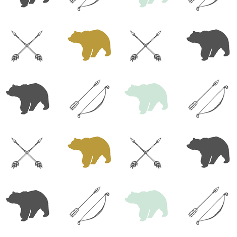 Bear and Arrows // Woodland Collection fabric by littlearrowdesign on Spoonflower - custom fabric