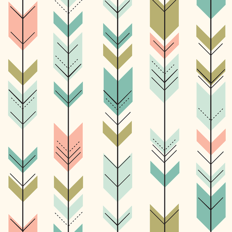 Fletching arrows (small scale)  // on cream fabric by littlearrowdesign on Spoonflower - custom fabric