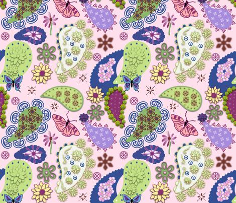 Paisley II - Pink fabric by gargoylesentry on Spoonflower - custom fabric