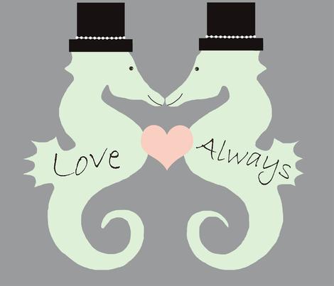 Seahorse Wedding Gay fabric by mommy_brain_art on Spoonflower - custom fabric