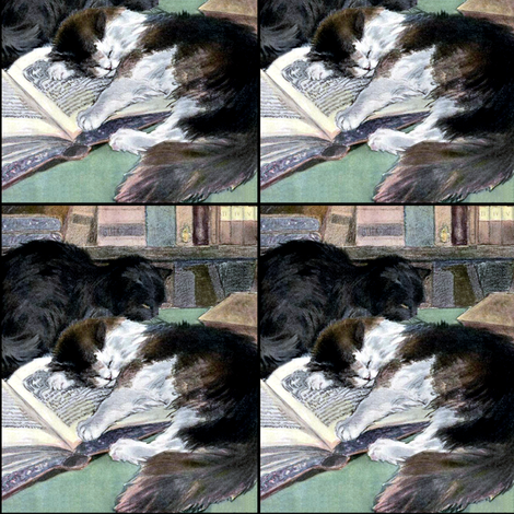 vintage retro kitsch whimsical black cats kittens sleeping napping library books fabric by raveneve on Spoonflower - custom fabric