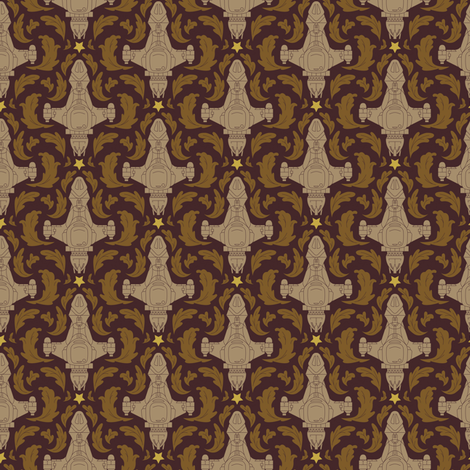 Leaf on the Wind Damask (small) fabric by vonplatypus on Spoonflower - custom fabric