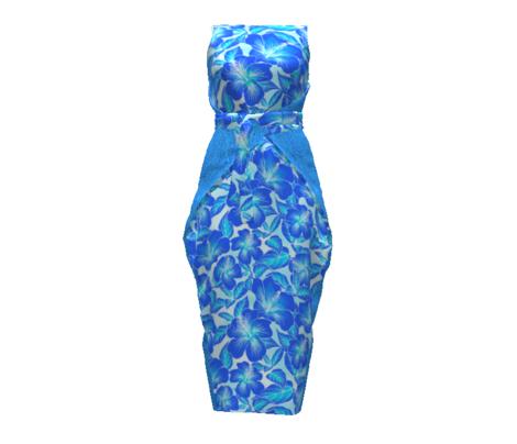 Hibiscus Batik Cobalt Blue on Tie Dye 200