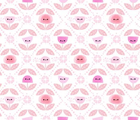 Mod Flowers - Pink (BIG) fabric by ginamayes on Spoonflower - custom fabric