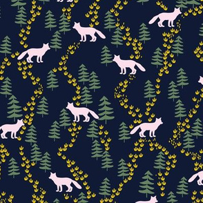 Fall forest foxes in navy and pink