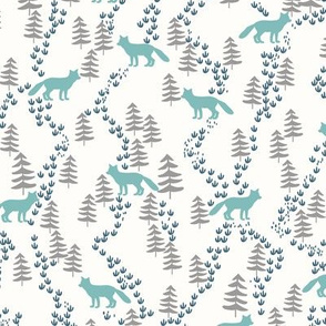 Fall forest foxes in teal