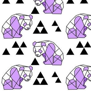 Purple Geometric Panda with Triangles