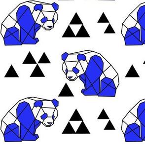 Blue Geometric Panda with Triangles