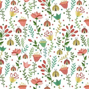 Floral pattern with ladybugs