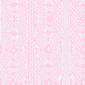 Mudcloth mudcloth african white on pink