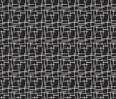 Abstract geometric raster black and white checkered stripe stroke and lines trend pattern grid fabric by littlesmilemakers on Spoonflower - custom fabric