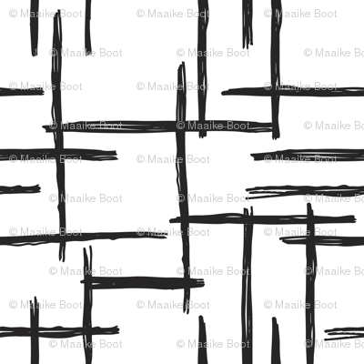 Abstract geometric raster black and white checkered stripe stroke and lines trend pattern grid SMALL