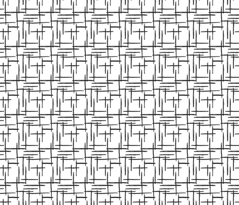 Abstract geometric raster black and white checkered stripe stroke and lines trend pattern grid SMALL fabric by littlesmilemakers on Spoonflower - custom fabric