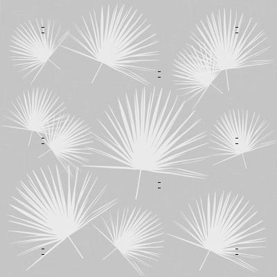 palmetto leaf fabric white on grey gray linen