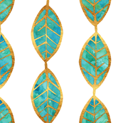 Aqua Gold Foil Leaves on White
