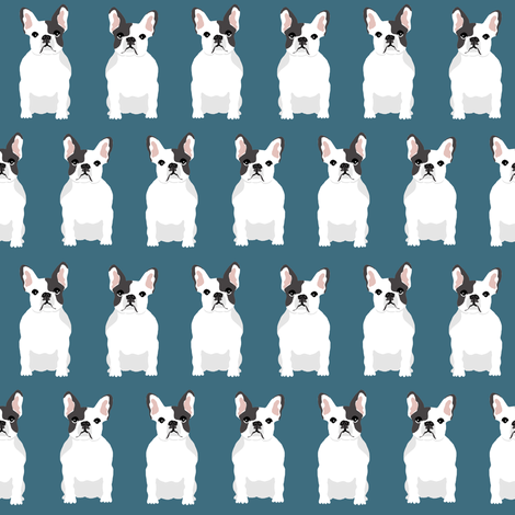 french bulldogs blue pet pets dogs dog pet  fabric by petfriendly on Spoonflower - custom fabric