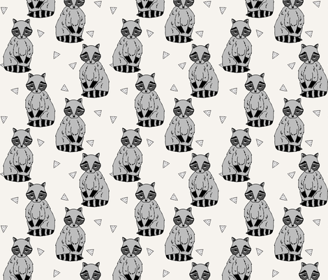 raccoon // raccoons racoon forest woodland champagne off-white cream kids nursery baby  fabric by andrea_lauren on Spoonflower - custom fabric