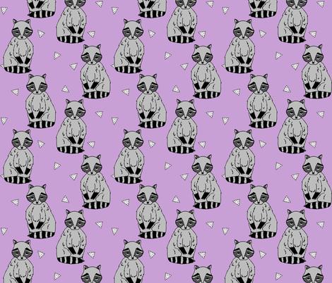 raccoon // raccoons sweet little woodland creature baby animal lilac purple pastel girls sweet raccoon fabric by andrea_lauren on Spoonflower - custom fabric