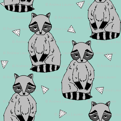 raccoon // raccoons mint nursery baby kids cute woodland forest animal