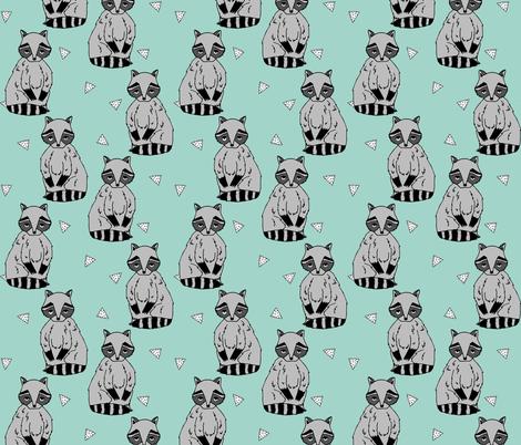 raccoon // raccoons mint nursery baby kids cute woodland forest animal  fabric by andrea_lauren on Spoonflower - custom fabric