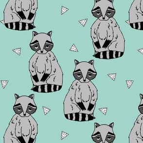 raccoon // raccoons mint nursery baby kids cute woodland forest animal