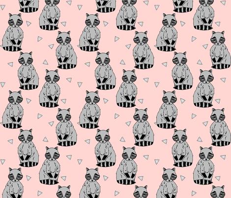 raccoon // pink raccoons sweet little animal woodland baby pink girls fabric by andrea_lauren on Spoonflower - custom fabric