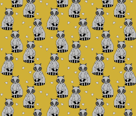 raccoon // raccoons sweet little woodland creature animal forest stripes kids mustard nursery fabric by andrea_lauren on Spoonflower - custom fabric