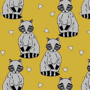 raccoon // raccoons sweet little woodland creature animal forest stripes kids mustard nursery