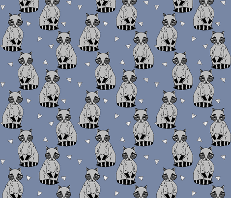 raccoon // blue cute raccoon woodland forest creature boys girls kids raccoons outdoors fabric by andrea_lauren on Spoonflower - custom fabric