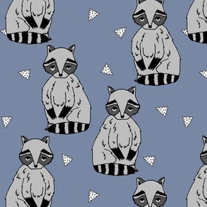 raccoon // blue cute raccoon woodland forest creature boys girls kids raccoons outdoors
