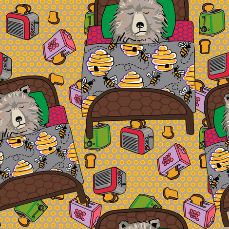 Lead in honey hex + toasters fabric by kheckart on Spoonflower - custom fabric