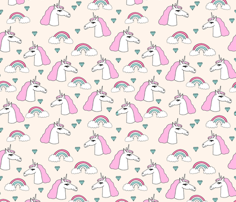 unicorn // sweet rainbow unicorn jewels pink pastel champagne off-white cream cute unicorn fabric by andrea_lauren on Spoonflower - custom fabric
