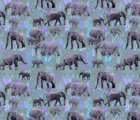 Sweet Elephants in Soft Purple and Grey fabric by micklyn on Spoonflower - custom fabric