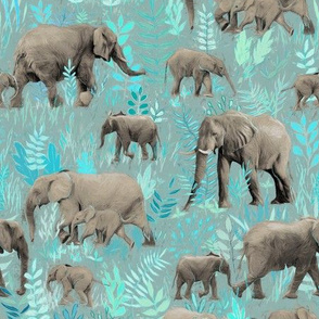 Sweet Elephants in Soft Teal