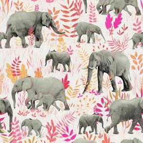 Sweet Elephants in Pink, Orange and Cream
