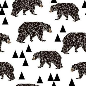 geometric bear // bear nursery triangles kids white background kids nursery boys nursery baby boy