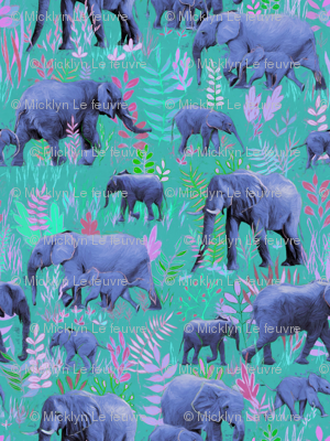 Sweet Elephants in teal, pink and purple