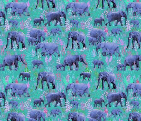 Sweet Elephants in teal, pink and purple fabric by micklyn on Spoonflower - custom fabric