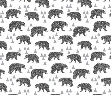 geo bear // charcoal light grey bear triangles geometric kids boys nursery fabric by andrea_lauren on Spoonflower - custom fabric