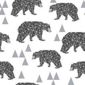 geo bear // charcoal light grey bear triangles geometric kids boys nursery