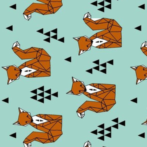 fox // geometric fox brown and blue kids nursery baby