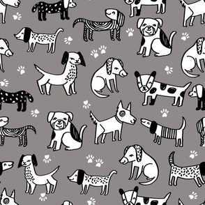 dogs // fabric dog pets dog hand-drawn grey dog fabric for pet dog owners