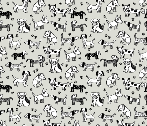 dog // dogs pets pet hand-drawn illustration linen color sweet off-white dog fabric fabric by andrea_lauren on Spoonflower - custom fabric