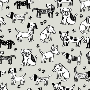 dog // dogs pets pet hand-drawn illustration linen color sweet off-white dog fabric