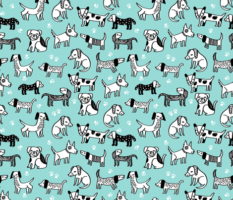 dogs // pet illustration dog hand-drawn sweet cute kawaii funny dog paw print dog fabric fabric by andrea_lauren on Spoonflower - custom fabric