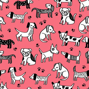 dogs // pink coral bright girly pet dog puppy terrier paw cartoon dogs design