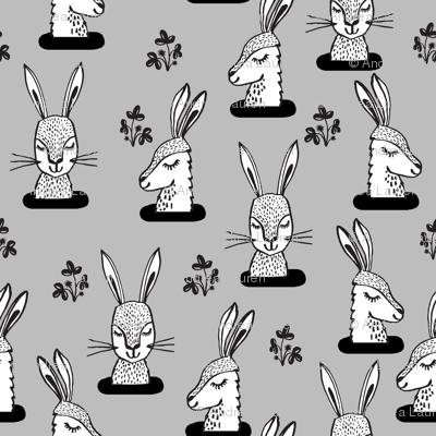 rabbit // rabbits sweet animal grey kids little rabbits print