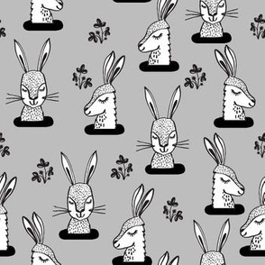 rabbit // rabbits sweet animal grey kids little rabbits print