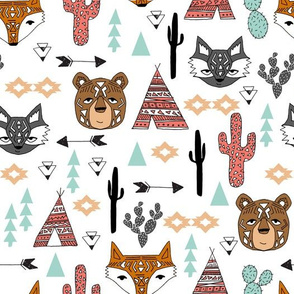 southwest animals // cactus tipi baby fox southwest nursery mint coral bear raccoon animals cute aztec tribal